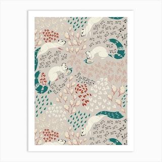 Squirrel Pattern 2 Art Print