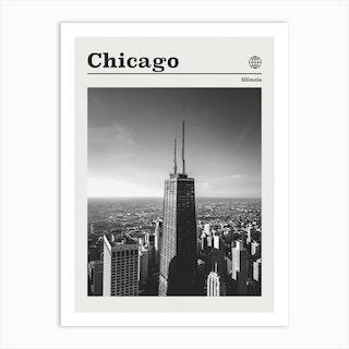 Chicago Illinois Black And White Art Print