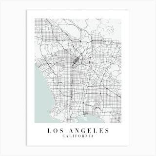 Los Angeles California Street Map Minimal Color Art Print