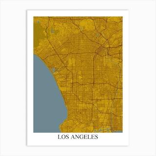 Los Angeles California Yellow Blue Art Print