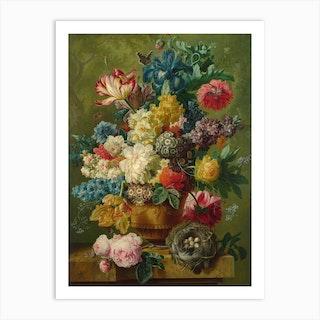 Flowers In A Vase, Paulus Theodorus van Brussel Art Print