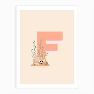 Letter F Fennec Fox Art Print