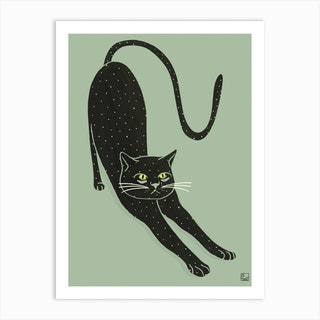 Black Cat On Green Background Art Print