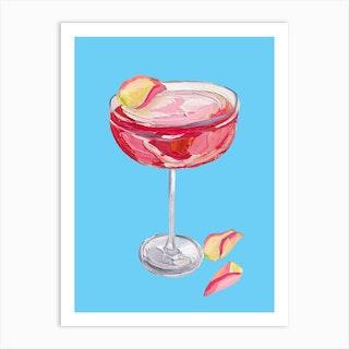 Sparkling Rose Gin Cocktail Art Print