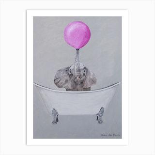 Elephant With Bubblegum In Bathtub Art Print