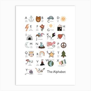 Alphabet In White Art Print