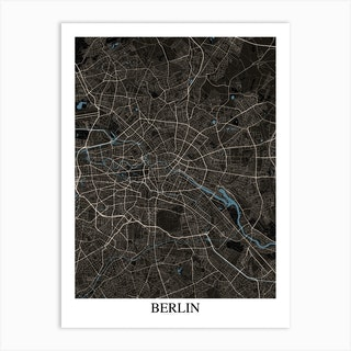 Berlin Black Blue Art Print
