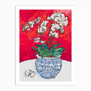 White Orchid In Chinoiserie Pot Art Print