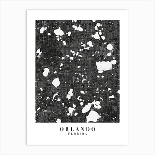 Orlando Florida Minimal Black Mono Street Map  Art Print