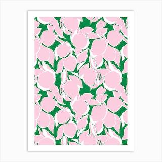 Pink And Green Citrus Print Art Print