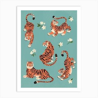Fierce Tigers In Blue Art Print