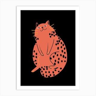 Relax Red Cat Art Print
