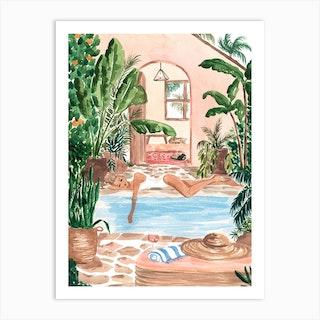 Poolside Siesta 2 Art Print