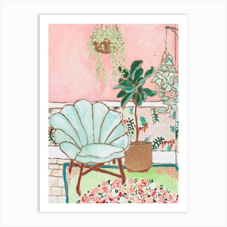 Mint Velvet Shell Chair Interior With Plants Art Print