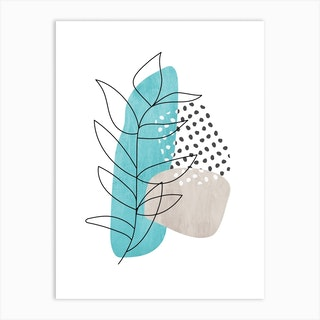Abstract Leaf Line Drawing Art Print