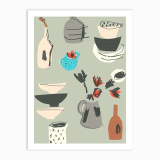 Spotty Jug And Red Anemone  Art Print