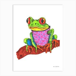 Frog In A Jumper Art Print