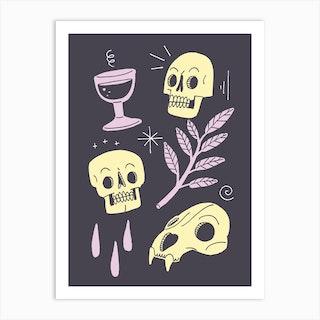 Skulls And Wine Dark Art Print