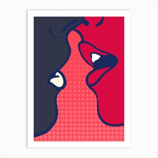 The Kiss Pink Art Print