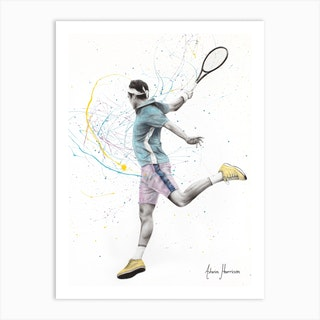 Roger Federer Inspired Tennis Player  Art Print