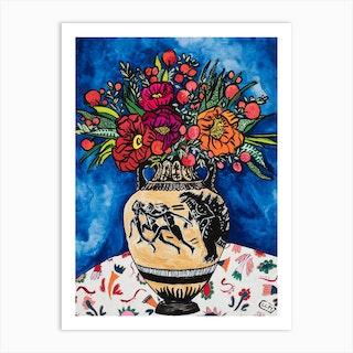 Godzilla Interruption On Grecian Urn With Peony Bouquet Floral Still Life Painting Art Print