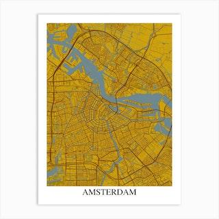 Amsterdam Yellow Blue Art Print