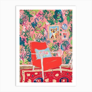 Red Mid Century Chair Interior With Tiger Art Print