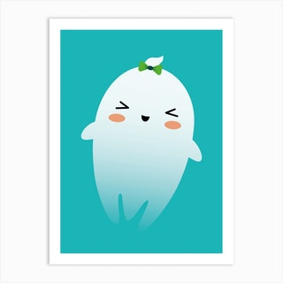 Nursery Kawaii Ghost Art Print