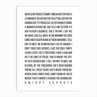 My Perfect Crime By Dwight Schrute The Office Art Print