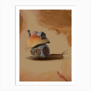 Snail Home Sweet House Art Print
