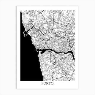 Porto White Black Art Print