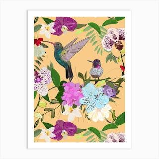 Orchid, Alstromerias And Cute Humming Birds Pattern Art Print