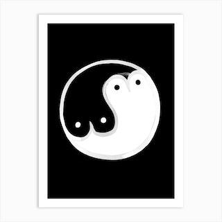 Boob Yin Yang Bw Art Print