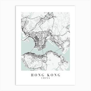Hong Kong China Street Map Color Art Print