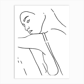 Woman Outline Black And White Art Print