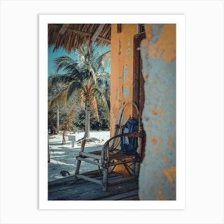 Palms And Chair On Isla Holbox Mexico Art Print