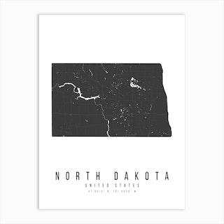 North Dakota Mono Black And White Modern Minimal Street Map Art Print