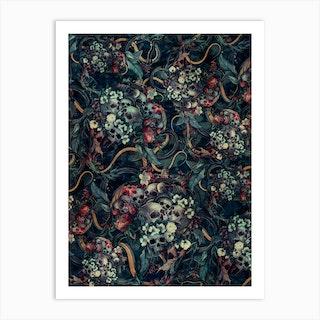 Skulls And Snakes Art Print