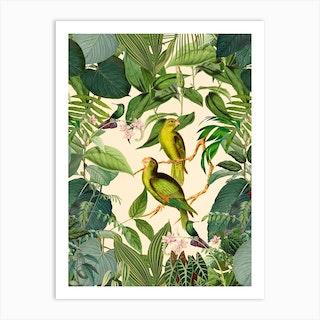 Green Jungle Parakeets Art Print