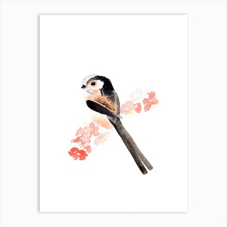 Long Tailed Tit And Pink Blossom Art Print