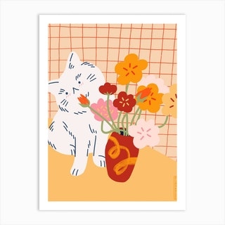Cat With Flowers Art Print