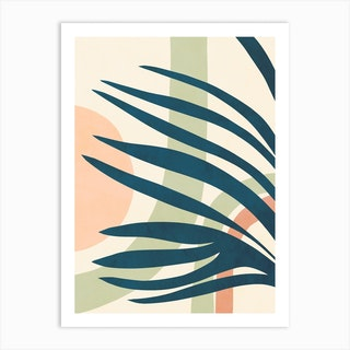 Earthy Tropical Foliage Blue 4 Art Print