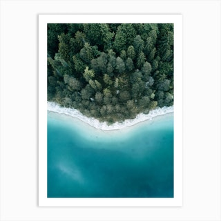Calm Lake And Forest From Above Art Print
