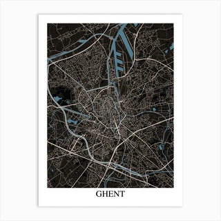 Ghent Black Blue Art Print