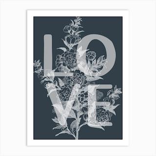 Love Floral Vintage Inspired Typography Art Print