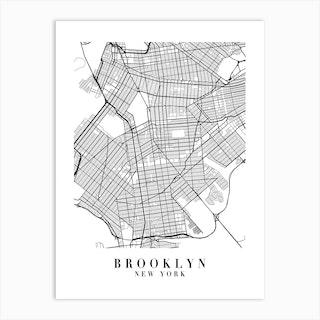 Brooklyn New York Street Map Minimal Art Print
