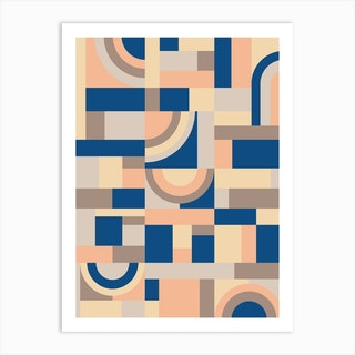 Soft And Blue Blocks Art Print