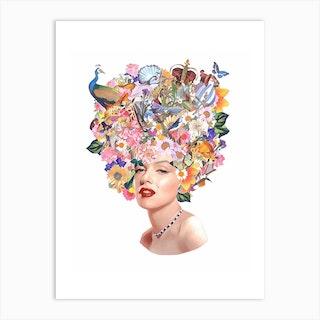 Marilyn Monroe Watercolour Collage Art Print