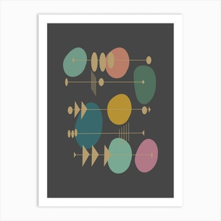 Retro Atomic In Grey Art Print