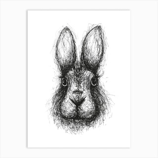 Scribble Rabbit Art Print